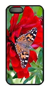 cheap cover Butterfly Red Flower PC Black Case for iphone 5/5S