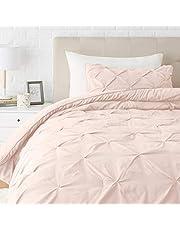 Amazon Basics Pinch Pleat Down-Alternative Comforter Bedding Set - Twin / TwinXL, Blush