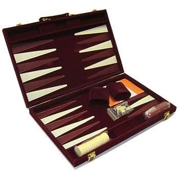 Amazon large 18 leatherette backgammon set brown toys games 18 recreational velvet backgammon board game case burgundy publicscrutiny Choice Image