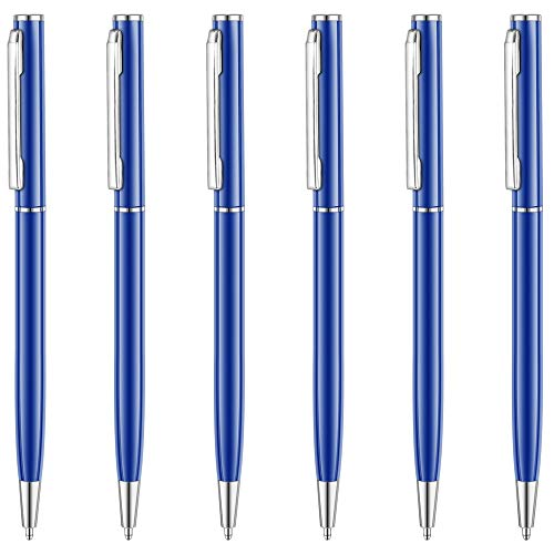 Unibene Slim Metallic Retractable Ballpoint Pens - Glossy Blue, Nice Gift for Business Office Students Teachers Wedding Christmas, Medium Point(1 mm) 6 Pack-Black ink ()