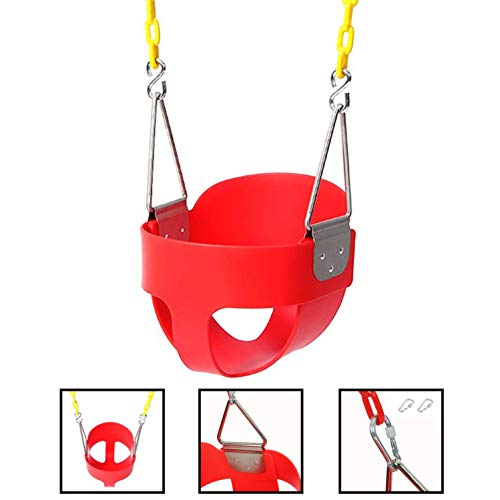 (Kepteen High Back Full Bucket Toddler Swing Seat with Safety Coated Swing Chain and Snap Hooks for Kids Toys Outdoor Play Home Garden (Red))