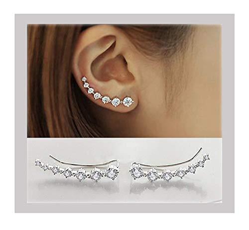 (Elensan 7 Crystals Ear Cuffs Hoop Climber S925 Sterling Silver Earrings Hypoallergenic Earring)