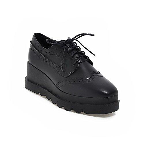 AgooLar Damen Weiches Material Schnüren Quadratisch Zehe Mittler Absatz Rein Pumps Schuhe Schwarz
