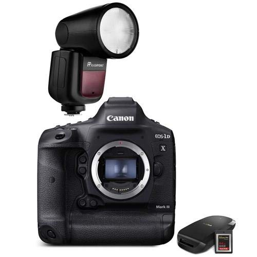 Canon EOS-1D X Mark III DSLR Camera Body with CFexpress Card & Reader Bundle Kit - with Flash Kit,Flashpoint Zoom Li-on X R2 TTL On-Camera Round Flash Speedlight