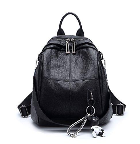 Sacs DEERWORD Sac Cuir Noir portable portés bandoulière main à bandoulière portés d'ordinateur Sacs dos Sacs Noir Sacs Femme Faux pwnrfpq0