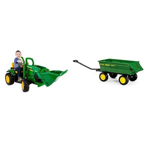 Peg-Perego John Deere Green Ground Loader Ride On with Green Farm Wagon Bundle