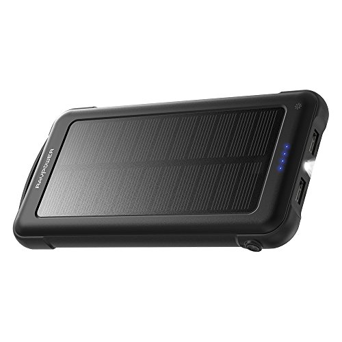 Solar Charger RAVPower 10000mAh Outdoor Battery Pack with iSmart 2.0 and Dual Input (Solar and Outlet), Shockproof Solar Power Bank with LED Flashlight for iPhone, Galaxy, Android, and More