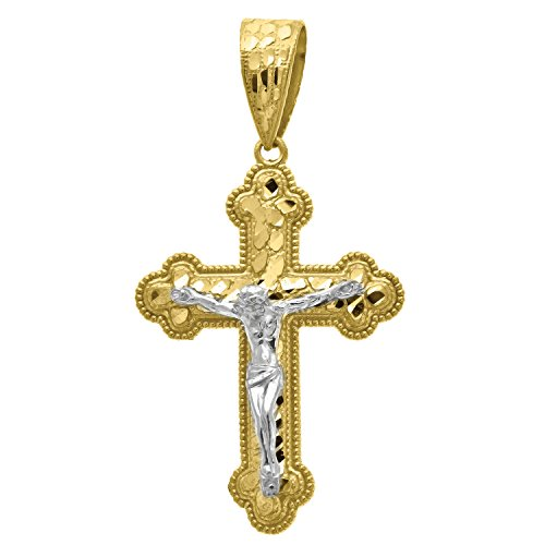 14kt Yellow and White Gold Mens Two-tone Diamond-Cut Nugget Cross Crucifix Jesus (Height with bail: 51.8mm) Pendant Charm (27.5mm x 51.82mm)