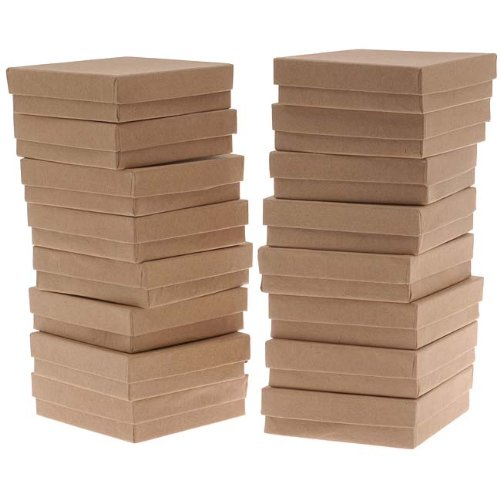 Beadaholique Kraft Brown Square Cardboard Jewelry Boxes 16 Pack