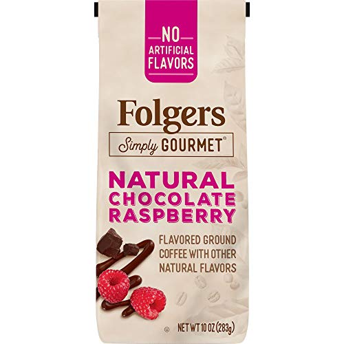 Folgers Simply Gourmet Flavored Ground Coffee with Other Natural Flavors, Chocolate Raspberry, 10 Ounce, Packaging May Vary (New England Pumpkin Spice)