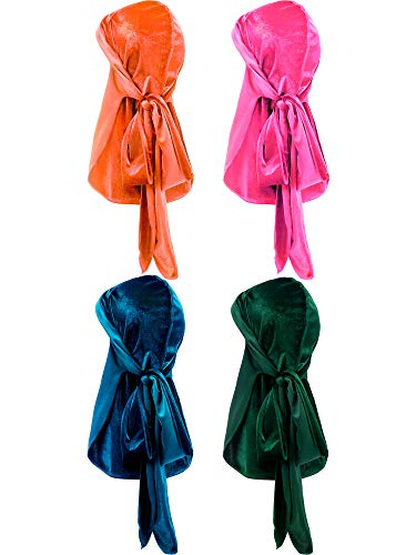 4 Pieces Men's Velvet Durag with Long Tail Soft Durag Headwraps for 360 Waves (Color -