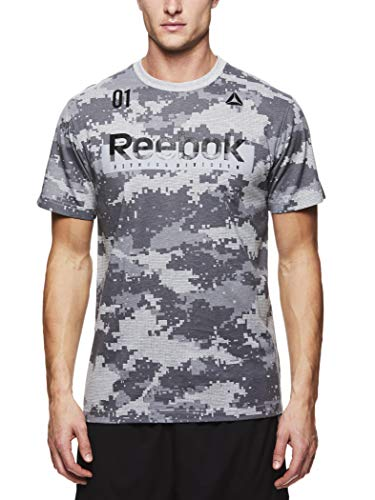 Reebok Mens Graphic Workout Tee - Short Sleeve Gym & Training Activewear T Shirt