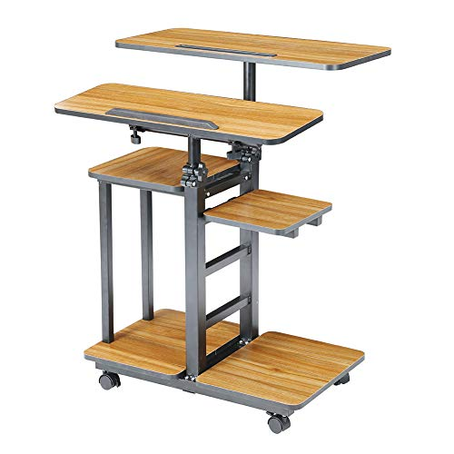 Rolling Height Adjustable Stand Computer Desk Laptop Table Presentation Cart (Oak)