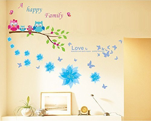 Dagou Owl and Flowers Happy Family Wall Stickers & Murals Wall Decals Wallpaper Wall Decorate and Removable Wall Décor Decorative Painting Supplies & Wall Treatments Luminous Stickers for Kids Living Room bedroom wallpops decal