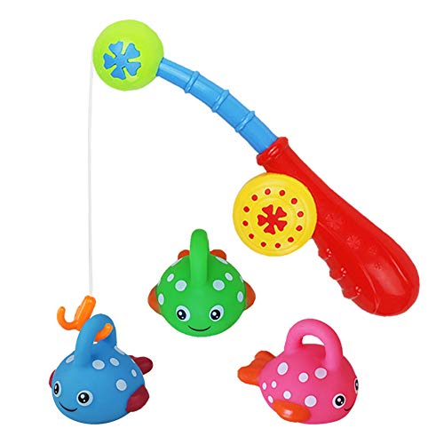 yoptote Fishing Game Bath Toys with Floating Fish Pole Enjoy Bathtub Fun Water Gifts with Happy Face for Baby Kids Girls Boys, Color Random (Style A)