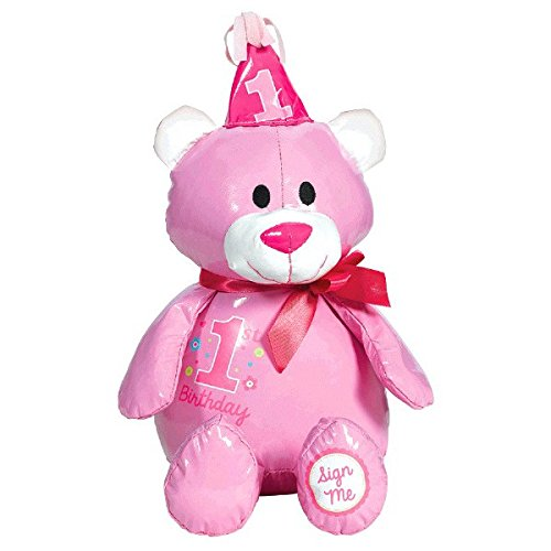 Pretty in Pink Sweet 1st Birthday Party Autograph Bear, Pink, Vinyl, 14 1/2