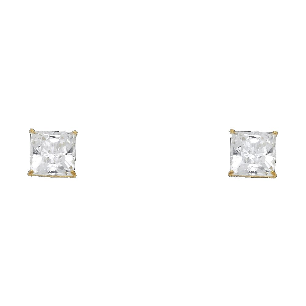 Wellingsale 14K Yellow Gold Polished 6mm Princess Solitaire Basket Style Prong Set Stud Earrings With Screw Back