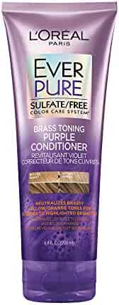 L'Oréal Paris Hair Care EverPure Sulfate Free Brass Toning Purple Conditioner for Blonde, Bleached, Silver, or Brown Highlighted Hair, 6.8 Fl. Oz