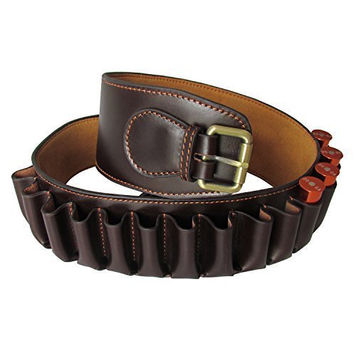 Tourbon Genine Leather Shotgun Bandolier Cartridge Belt 12 Gauge Shell Holder