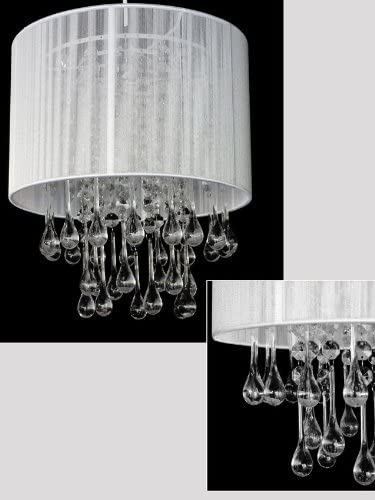 12 wide White Faux Crystal Chandelier