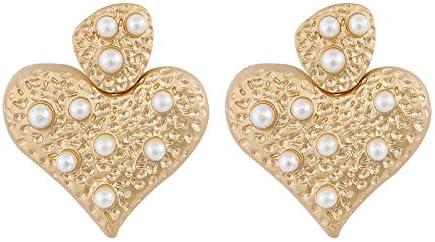 QYMX Pendiente de Las Mujeres, corazón Perla Pendientes de Gota para Las Mujeres de aleación geométrica de Oro Cuadrados Pendientes Bohemios joyería de ModaPendientes