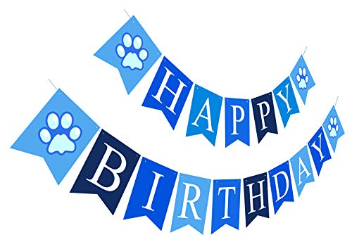 Puppy Happy Birthday Banner | Boy Birthday Sign | Paper Card Stock Bday Party Decoration - Blue Blues Clues Party Decorations