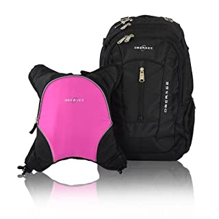 Bern Diaper Backpack, Shoulder Baby Bag, With Food Cooler, Clip to Stroller (Black/Pink)