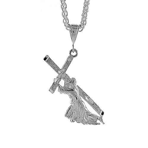 Sterling Silver Christ Carrying the Cross Pendant, 1 7/8 inch tall