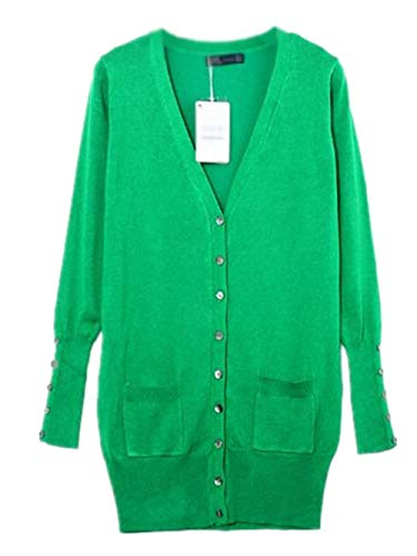 Tempo Bobo Green Lily neck Monocromo Giacche Maglia Lunghe Donna V Maniche Casual Giacca Lunga Elegante Stlie Primaverile Cappotto Unique Fine Autunno 1 Fashion Button A Comodo Libero pzxpq4r