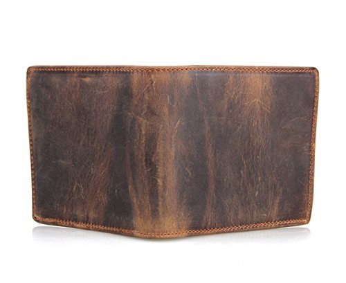 HRS Men's RFID Blocking Vintage Italian Genuine Leather Slim Bifold Wallet Handmade