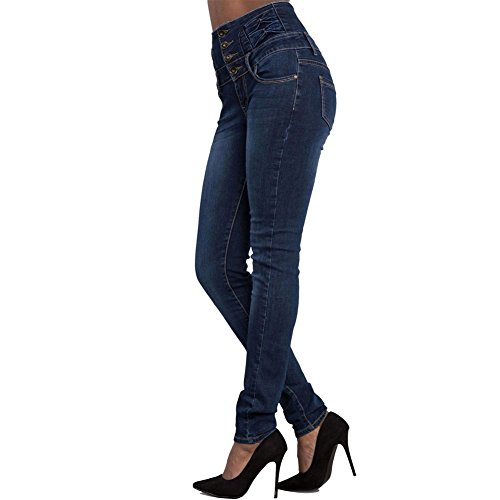 Vita Chiyeee Denim Blu Alta Slim Vestibilità Da Jeans Scuro Donna Pantaloni PHFq5