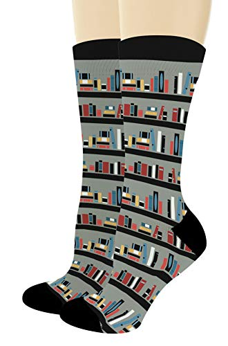 Nerdy Gifts Library Book Shelf Book Themed Socks Reading Accessories Book Lover Gifts 1-Pair Novelty Crew Socks