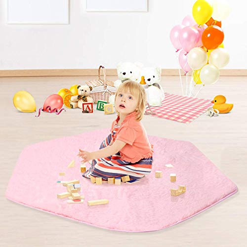 - wilwolfer Hexagon Rug Girls Play Mat Pink Plush Carpet Mat Coral Soft Rug Pad for Princess Tent for Kids Toys for Indoor or Outdoor (Pink (Mat))