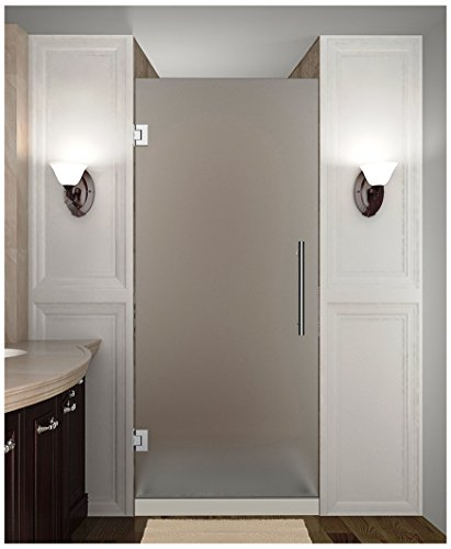 "Aston SDR995F-CH-30-10 Cascadia Completely Frameless Frosted Glass Hinged Shower Door in Chrome Finish, 30"" x 72"""
