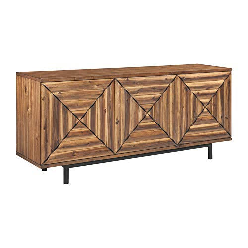 Ashley Furniture Signature Design - Fair Ridge 3-Door Touch Latch Accent Cabinet - Contemporary - Warm Brown Finish - Black Metal Legs - Sqaure Inlay Pattern