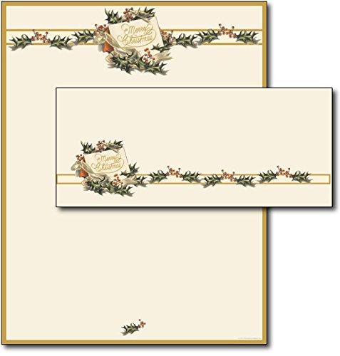 Vintage Christmas Holly Letterhead & Envelopes - 40 (Christmas Envelope)
