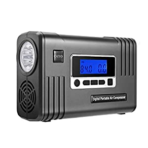 Portable Air Compressor Pump CATUO Digital Portable Tire Inflator 12V DC 100PSI Auto Premium Digital Tire Inflator with Digital Gauge and Light for SUV, Cars, Trucks, Bicycles and Basketballs, ect.