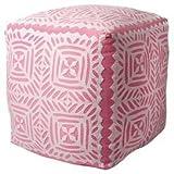 Karma Living Nadia Applique Pouf - Pink/White, Cotton, 16''x16''x16''
