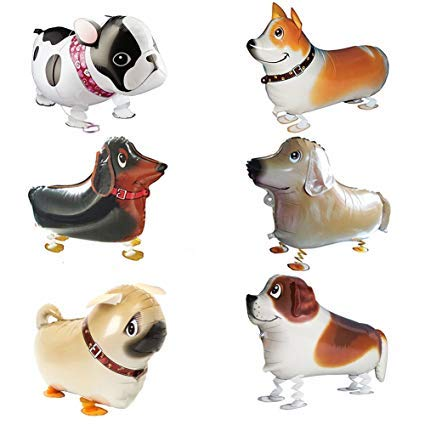Pet Animal Balloons for Kids – 12-Pack Dog Helium Floating Walking Balloon Set for Birthday Party – Premium Quality Aluminium Foil – Reusable – Vivid Colours and Funny Animal Shapes