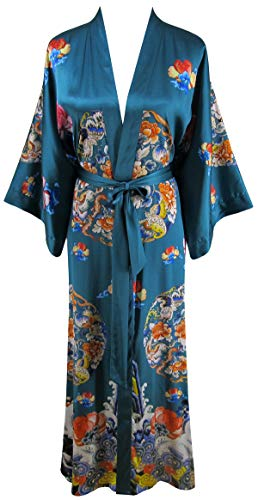 - Ledamon Women's 100% Silk Kimono Long Robe - Classic Colors and Prints (Green)