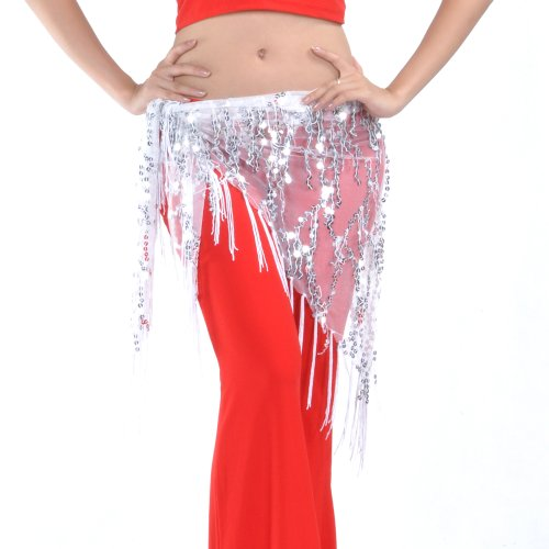 BellyLady Belly Dance Hip Scarf Shawl With Fringe Tribal Triangle Tassles Wrap-White -
