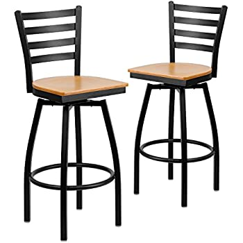 Black Ladder Back Swivel Metal Bar Stool Natural Wood Seat
