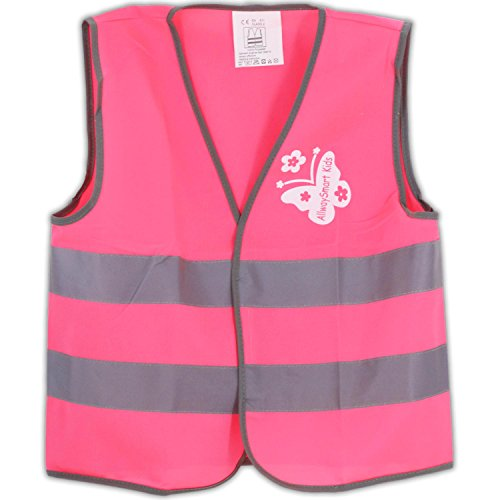 Pink kids reflective safety vest - High visibility for preschooler walkers running biking scooter riding or construction costume. For 3 to 7 years old (Cute Construction Worker Costumes)
