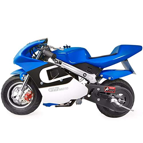 XtremepowerUS Gas Pocket Bike Mini Motorcycle Ride-On 40cc 4-Stroke Engine for Kids Padded Seat EPA Approved (Blue)