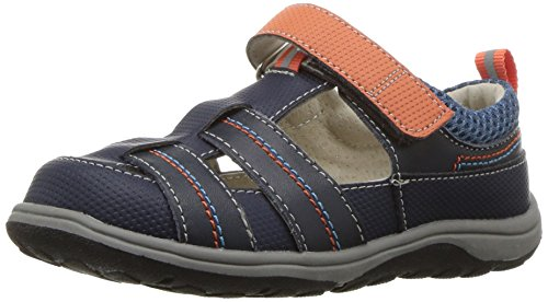 See Kai Run Boys' Ryan II Sandal, Navy/Orange, 11.5 M US Little Kid