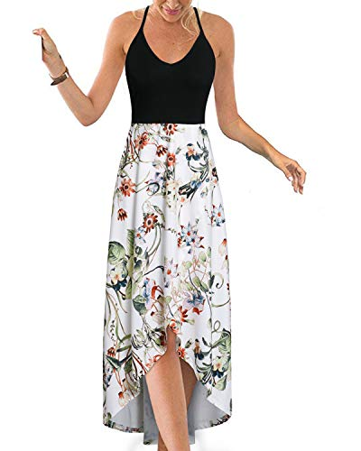 KILIG Womens V Neck Sleeveless Asymmetrical Patchwork Floral Maxi Dresses (Floral-5,M)