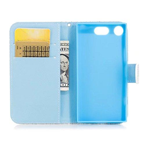 COWX Xperia XZ1 Compact Hülle Kunstleder Tasche Flip im Bookstyle Klapphülle mit Weiche Silikon Handyhalter PU Lederhülle für Sony Xperia XZ1 Compact Tasche Brieftasche Schutzhülle