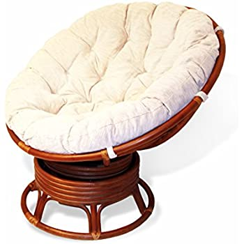 Charmant Rattan Wicker Swivel Rocking Round Papasan Chair With Cushion Colonial  (Light Brown)