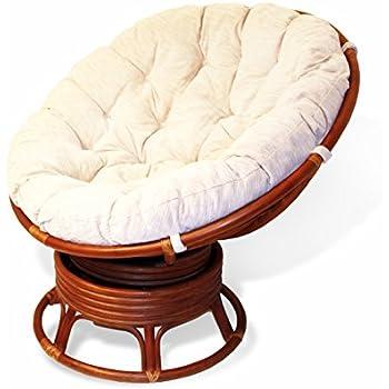 Genial Rattan Wicker Swivel Rocking Round Papasan Chair With Cushion Colonial  (Light Brown)