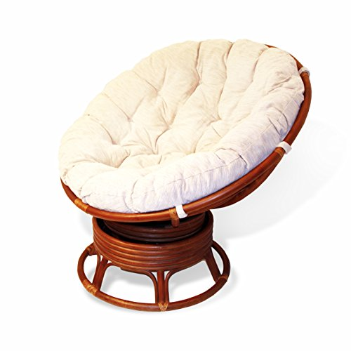 Rattan Wicker Swivel Rocking Round Papasan Chair with Cushion Colonial (Light Brown) (Papasan Swivel Chair Cushion)